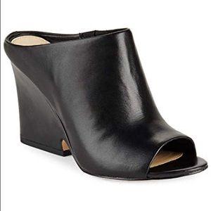 SAM EDELMAN wayne black leather wedge